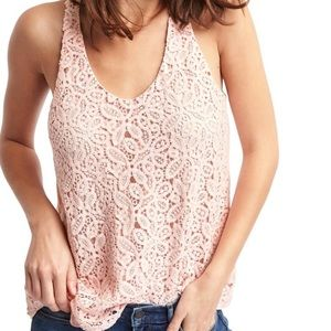 GAP Lace-Overlay Loose WHITE Tank NWT